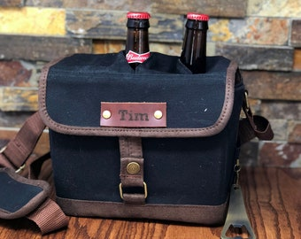Custom Engraved Insulated Cooler, Canvas Drink Tote, Sports, Groomsmen Gift, Personalize, Golf, Fishing, Camping, Gifts for Him, Barbecue
