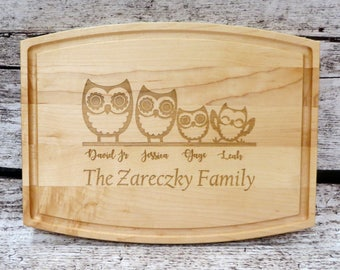 Personalized Owl Family Cutting Board - Walnut - Maple- Anniversary - House Warming -Custom Wedding Gift - Unique Gift - Realtor gifts