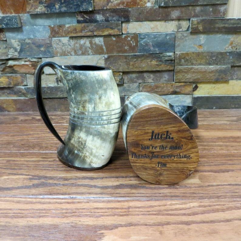 Authentic Buffalo Horn Mug Personalized Beer Mug Bar image 0