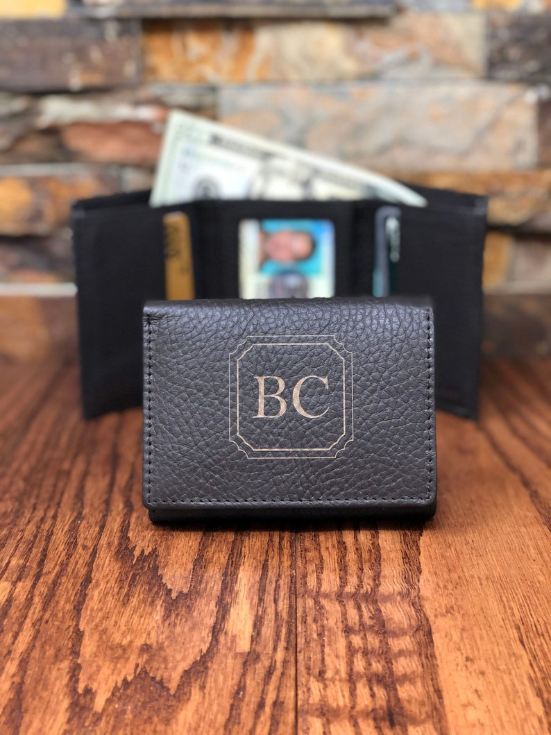 a248abc469dc Personalized Tri Fold Mans Wallet ID window Gifts for Men
