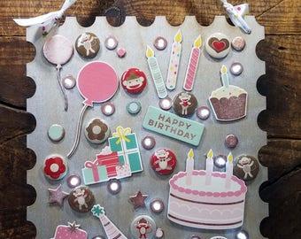Pink Balloon Silver Birthday Stamp (PC2)
