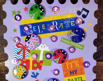 Celebrate Purple Birthday Stamp