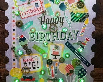 Silver & Green Birthday Stamp (PC314)