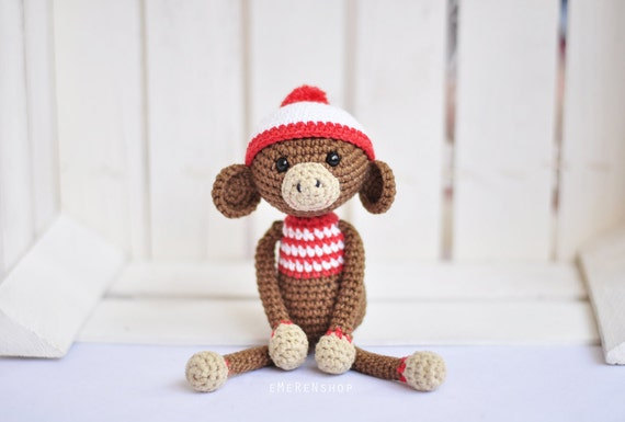 Häkeln Sie Stofftier Affe Affe Amigurumi Puppe Spielzeug Etsy