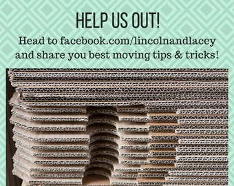 Head to our Facebook page and give us your best tips and tricks for moving three kids and our entire workshop. facebook.com/lincolnandlacey