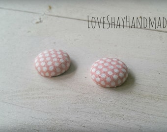 Pink & White Polka Dot Fabric Button Earrings