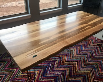 SOLD  Gorgeous Ambrosia Maple Reclaimed Slab Live Edge Dining Table With  Hairpin Legs And Custom State Outline(Custom Order For Monica)