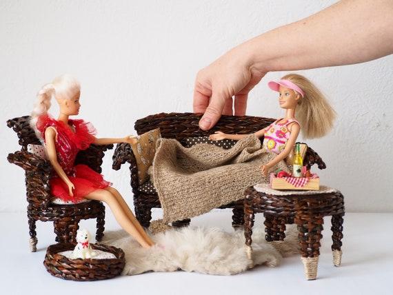 "handcrafted OOAK bed for 11 1//2/"" dolls including Barbie"