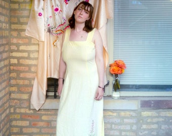 vintage 80s yellow embroidered dress