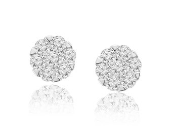 0.50ct Round Diamond 10k Yellow Gold 1/2ct Cluster Flower Stud Earrings