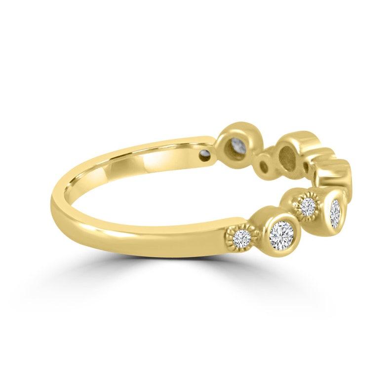 15ct Bezel Diamond 10k WhiteYellow Gold Anniversary Wave Milgran Band Ring