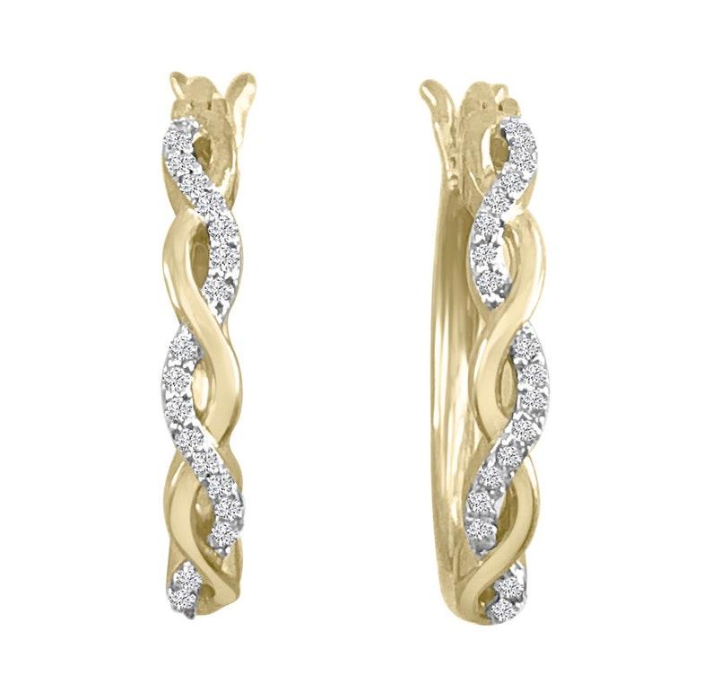110ct Pave Diamond 10k Yellow Gold Infinity Twist Latch Back Earrings