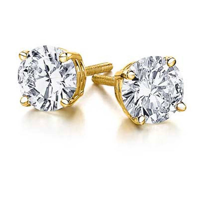 41ccfb0e63e09 1.00ct Natural Round Diamond 14k Yellow Gold Stud Earrings Screw Back