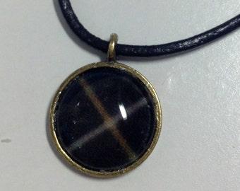 MacAlpine Tartan small pendant on leather cord