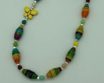 Bright Multi-Colored Fabric Bead Necklace