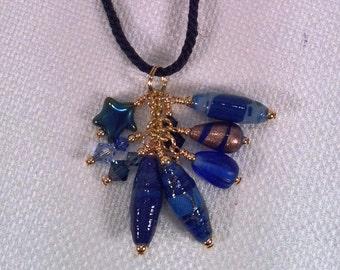Blue Fabric Bead Tassel Pendant