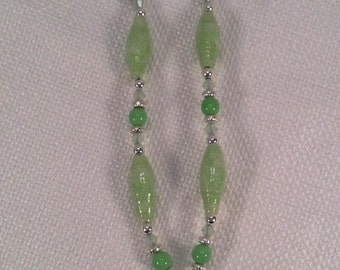 Lime green Fabric Bead Necklace with frog pendant