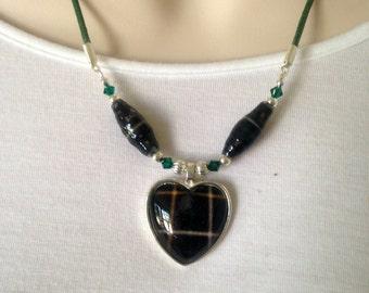 MacAlpine Tartan heart pendant