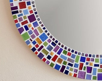 Mosaic Wall Mirror in Blue, Red, Purple, Yellow & Green / Round Mirror / Bathroom Mirror / Mosaic Wall Art / Kitchen Decor / Home Decor