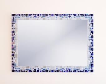 Mosaic Wall Mirror in Blue, White & Silver 70x50cm Large Bathroom Mirror, Blue Wall Decor, Mosaic Wall Art