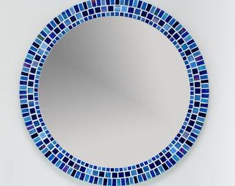 Mosaic Wall Mirror, Round Mirror in Blue, Bathroom Mirror, Mosaic Wall Art, Handmade Home Decor, Custom Mirror, Wall Hanging, Kitchen Decor