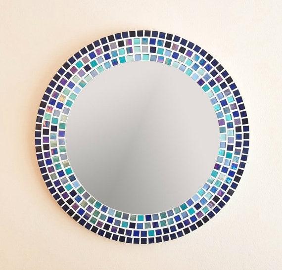 Miroir mosaïque en bleu & Turquoise, grande salle de bain miroir rond  miroir mosaïque murale, Art, décoration murale bleu, décor de salle de bain  bleu ...