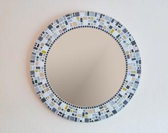 Mosaic Wall Mirror in Silver, Grey & Yellow, Bathroom Mirror, Round Mirror, Mosaic Wall Art, Grey Yellow Home Decor, Housewarming Gift