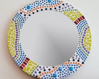 Round Mosaic Mirror - Gaudi Style / Colourful Wall Mirror /  Mosaic Art / Unique Wall Decor