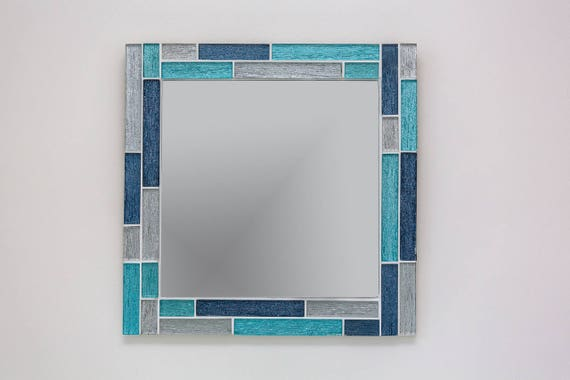 Mosaic Wall Mirror in Turquoise Blue & Silver / Bathrooom | Etsy