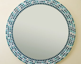Green Wall Mirror - various sizes available, Round Mosaic Mirror, Hallway Mirror, Green Wall Decor, Mosaic Wall Art