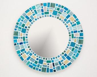 Mosaic Wall Mirror in Blue, Turquoise & Yellow, Round Mirror, Bathroom Mirror, Beach Decor, Mosaic Wall Art, Housewarming Gift