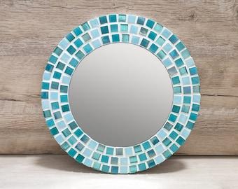 Bathroom Mirror / Small Wall Mirror / Mosaic Mirror / Aqua Blue Mirror / Christmas Gift for Home / Turquoise Wall Decor