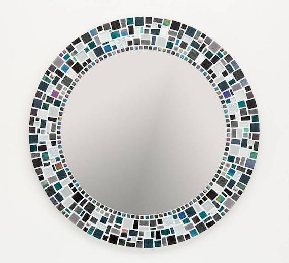 Wandspiegel In Schwarz Silber Grun Mosaik Spiegel Badezimmerspiegel Runde Wandspiegel Mosaik Wandkunst Wohnkultur Housewarminggeschenk
