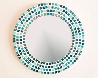 Mosaic Mirror in Green 30cm, Bathroom Mirror, Round Wall Mirror, Green Wall Decor, Mosaic Wall Art