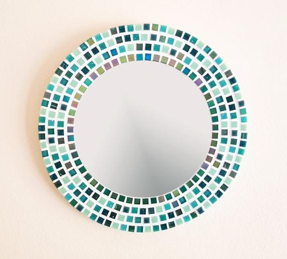 Mosaik Spiegel In Grun 30cm Badezimmerspiegel Runde Wand Spiegel Grune Wand Dekor Mosaik Wandkunst