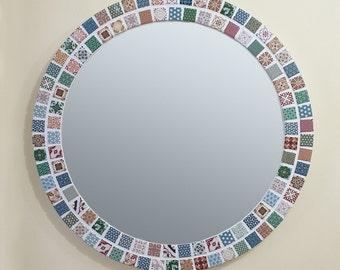 Moroccan Mosaic Wall Mirror / Retro Round Mirror / Vintage Design / Bathroom Mirror / Mosaic Wall Art / Mosaic Wall Decor