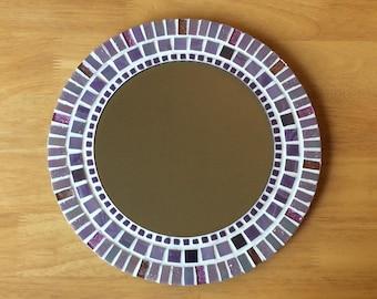 Round Mosaic Wall Mirror - 30cm - Purple, Mauve, Lilac - Bathroom Mirror, Purple Wall Decor, Purple Wall Art