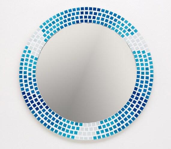 Mosaik Wandspiegel Blau Aqua Und Weiß 40cm Runde Spiegel | Etsy