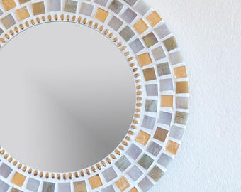 Round Mosaic Wall Mirror in Gold & Cream/Ivory 30cm, Home Decor Gift, Gifts for Her, Unique Christmas Gift Idea, Mosaic Wall Art