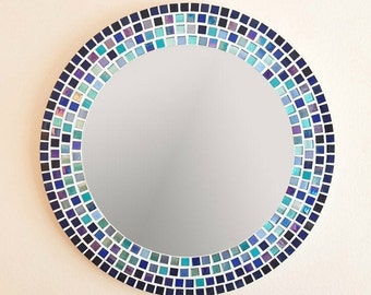 Mosaic Wall Mirror in Blue & Turquoise, Large Bathroom Mirror, 50cm Round Mirror, Mosaic Wall Art, Blue Wall Decor, Blue Bathroom Decor