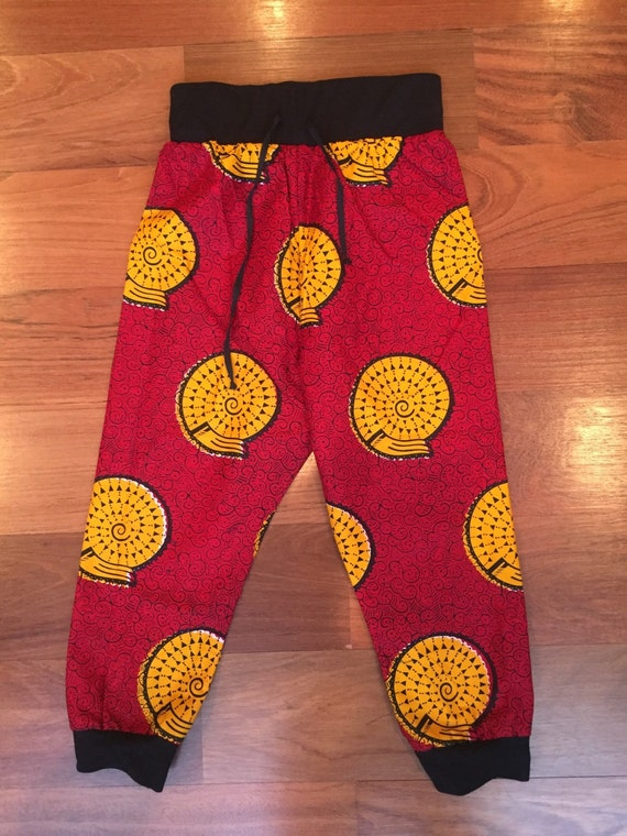 b0b6e7a39 Boys African Fabric Trousers. Red and yellow Ankara | Etsy
