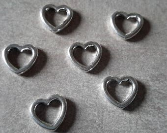 Charm heart, heart - the same side - silver - 10.5 x 10 mm