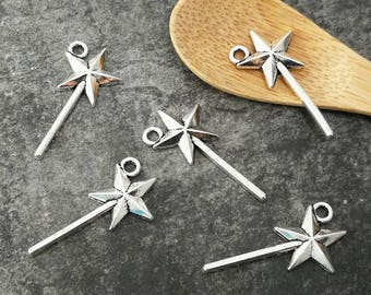 Fairy wands, Princess charm charms in silver, 25 x 13 mm star