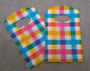 Plastic bags for gifts candy creations gift box pink blue yellow madras Plaid