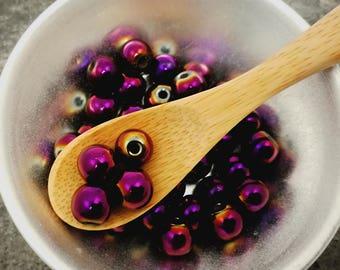 Hematite gemstone, purple metallic 10 mm pearl beads