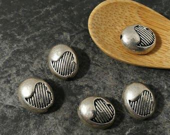 Pearl Heart, oval beads, boho, silver, Metal beads 12 x 8 mm