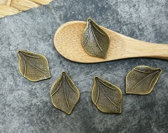 Charms leaves tree brass, 21 x 14 mm