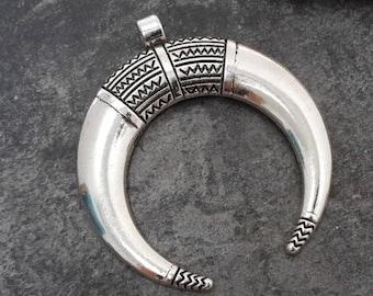 Horn pendant silver half moon ethnic, boho, silver pendant, 50 x 46 mm, 1 pc