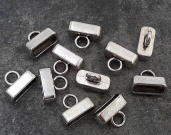 10 pcs caps cords to paste, hide-knots, rectangle caps, silver - 17 x 16 mm