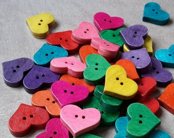 15 pcs, wooden buttons, buttons, hearts, multicolored buttons, 20 x 16.5 mm